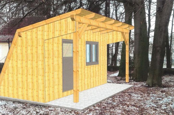 Eine neue Holzhütte für den Hof